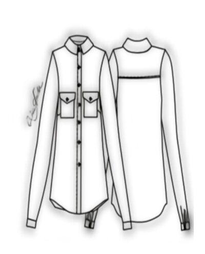 Kit Completo de Molde de Camisão Feminino com Gola com Pé e Pala – Tecido Plano – Tam.36 ao 46