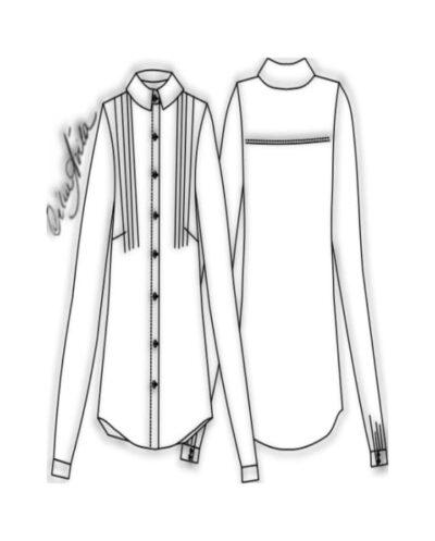 Kit Completo de Molde de Camisão Feminino com Pregas no Ombro – Tecido Plano – Tam.36 ao 56