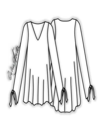 Kit Completo de Molde de Bata com Decote V e Manga Longa com Amarração – Tecido Plano – Tam.36 ao 56