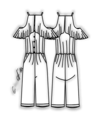 Kit Completo de Molde de Macaquinho com Babado Godê no Decote e Alcinha – Tecido Plano – Tam.36 ao 56