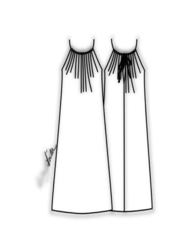 Kit Completo de Molde de Vestido de Alcinha com Franzido no Decote – Tecido Plano – Tam.36 ao 56
