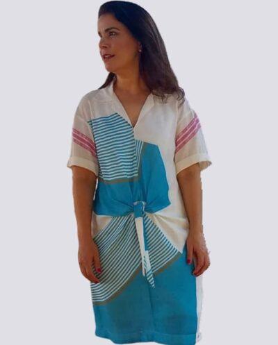 Kit Completo de Molde de Vestido Chemise com Amarração na Frente e Manga Montada em Cava Baixa – Tecido Plano – Tam.36 ao 56