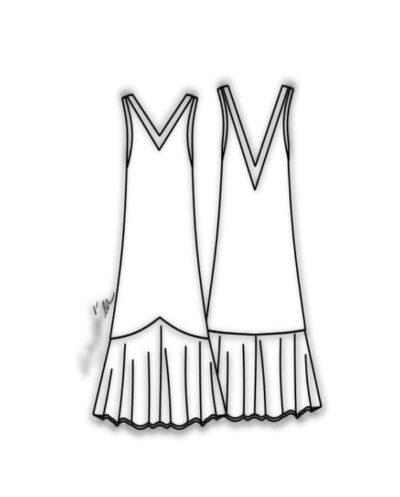Kit Completo de Molde de Vestido de Malha com Decote V Frente e Costas com Babado Godê na Barra – Malha – Tam.PP ao GG