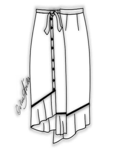 Kit Completo de Molde de Saia com Abotoamento Frontal e Babado Franzido – Tecido Plano – Tam.36 ao 56