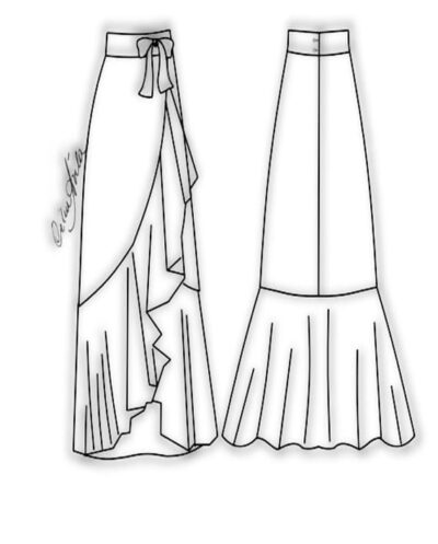 Kit Completo de Molde de Saia com Babado Godê Transpassado na Frente – Tecido Plano – Tam. 36 ao 56
