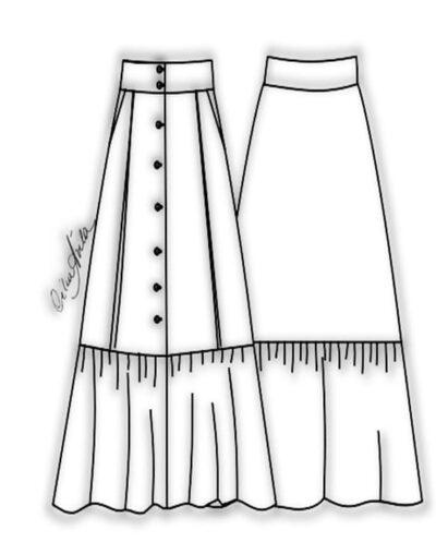 Kit Completo de Molde de Saia Evasé com Abotoamento e Babado Franzido – Tecido Plano – Tam.36 ao 56