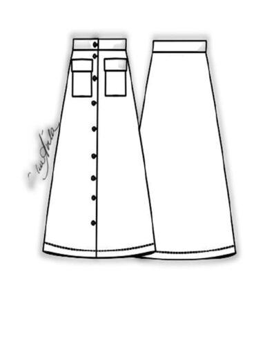 Kit Completo de Molde de Saia Evasé com Abotoamento e Bolso Frontal – Tecido Plano – Tam.36 ao 56