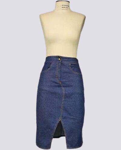 Kit Completo de Molde de Saia Mídi Estilo Jeans – Tecido Plano – Tam.36 ao 56
