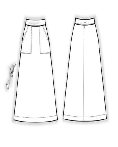 Kit Completo de Molde de Saia Midi Evasé com Cós Anatômico e Bolso Chapado na Frente – Tecido Plano – Tam.36 ao 56