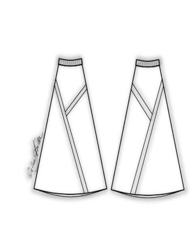 Kit Completo de Molde de Saia Midi Evasé com Recortes Assimétricos – Tecido Plano – Tam.36 ao 56