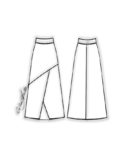 Kit Completo de Molde de Saia Midi Evasé com Recortes e Fenda no Meio da Frente – Tecido Plano – Tam.36 ao 56