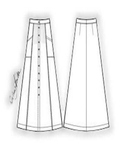 Kit Completo de Molde de Saia Midi com Abotoamento na Frente e Bolsos Laterais – Tecido Plano – Tam.36 ao 56