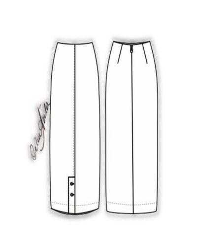 Kit Completo de Molde de Saia Mídi com Fenda e Abotoamento na Frente – Tecido Plano – Tam.36 ao 56