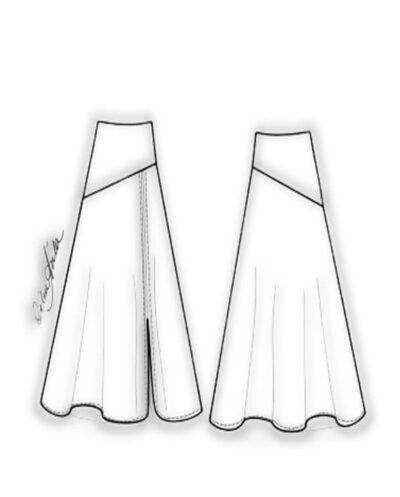 Kit Completo de Molde de Saia com Pala e Babado Godê com Fenda – Tecido Plano – Tam.36 ao 56
